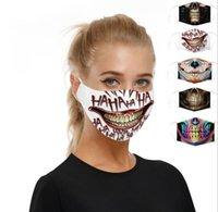 2020 Nueva 3D impresión del cráneo Máscaras protectve filtro bici de la bicicleta del esquí Deportes media mascarilla Multi Uso Boca mascarilla de las máscaras del partido de Cosplay