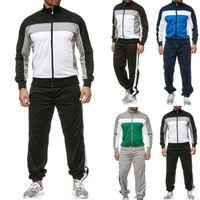 Mens Tracksuits 탑스 땀 바지 정장 캐주얼 스포츠 스플 라이스 지퍼 인쇄 스웨트 셔츠 탑 바지 세트 스포츠 슈트 트랙스