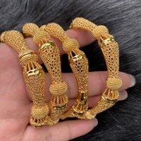 4PCS / الكثير الهندي أساور الذهب اللون BangleBracelet دبي أساور للنساء أفريقيا مجوهرات الزفاف الاثيوبي العروس مجوهرات هدية CX200729