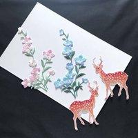 10 Stücke Stickerei Plum Fairy Hirsch bestickt Tuch Patches Klebstoff chinesischen Stil Hanfu DIY kreative Patches Aufkleber gebügelt werden