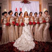 Новый Sparkly розовое золото Sequined 2020 невесты платья Русалка Jewel шеи одно плечо с открытой спиной Поезд стреловидности оболочки Длинные партии платья на заказ