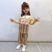 Trajes de diseñador de niñas 2020 Autumn Kids Ropa Sets Niños a ras de rayas Plaid de manga larga camiseta + pantalones 2pcs trajes S385