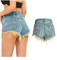 Ebaihui bf estilo verão vento fêmea azul meados cintura denim shorts mulheres borla buraco rasgado scocked jeans shorts com beading dk1