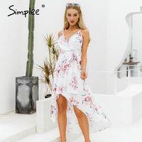 SimpLee Sexy V-образным вырезом Спагетти ремень женщин летнее платье Элегантный цветочный принт асимметричный длинный сарафан дамы пляжные платья макси