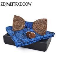 laços de moda para homens gravata borboleta azul abotoaduras bolso laço quadrado laços conjunto totem impressão lenço laços madeira