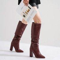 Stiefel plus Größe 34-43 Marke Frauen Dicke High Heels Herbst Winter Cowboy Western Knie Schuhe