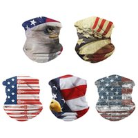 Cara Moda Máscara Hombres Mujeres bufanda principal mágica lavable Bragas de cuello Protección Deportes pañuelo de nosotros Flag prueba de polvo Control de plagas 6xS D2