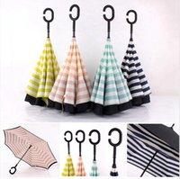 C Tipo de Proteção Solar portátil Camada chuvas Duplo Pongee Stripe reverso Umbrella Liso Longo Handle Outdoor Umbrellas DDA144