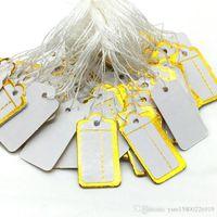 500 PCS ценник галстука строка дисплея этикетка 23x13mm шика цена ювелирных изделий тег Белый Струнный Tie-на ценник пустой белый этикеточной бумаги