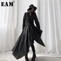 Женские блузки Рубашки [EAM] Женщины черная асимметричная длинная блузка отворота рукава свободная подходит рубашка мода прилив весна осень 2021 19A-A534