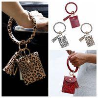 Bangle Armband Kartenbeutel Brieftasche Keychain Wristlet Schlüsselanhänger Leopard Handtasche Armband Kreditkartenhalter mit Quaste Party Favor Rra3368