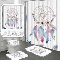 샤워 커튼 4pcs 현대 3D 인쇄 Dreamcatcher 커튼 세트 방수 목욕 후크 안티 슬립 화장실 커버 욕실 매트