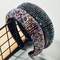 Барокко Luxury Full Красочного Кристалла диапазон волосы Bling бисер Толстой Губка повязка для волос Женщина Wide Hoop Брид Свадебных аксессуаров для волос