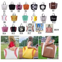 Canvas Bag Baseball Tote 19 Styles Sports Bags Casual Softball Bag Football Soccer Basketball Canvas Totes Home Storage Bags CCA12386 50pcs