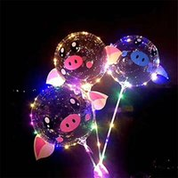 2020 Kids LED Pig Clear Balloon Couples Ball Luminous Light Birthday Toys Balloons 18inch Cartoon Xmas Party Up Bobo Decoration Wedding Vncj