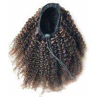 Ponytails İpli% 100 İnsan Saç 100g olarak Afro Kinky Kıvırcık at kuyruğu için Siyah Kadınlar Doğal Siyah Remy saç 1 Adet Klip