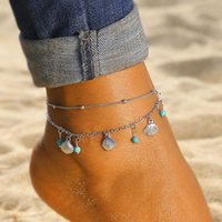 Cadena de plata Anklet Bohemian Shell Green Stone Foot Tobillo Pulsera Sandalias de verano Piernas Mujeres Joyería Regalos