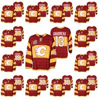 Calgary Flames Johnny Gaudreau Matthew Tkachuk Jarome Iginla Mark Giordano Sean Monahan Elias Lindholm Miras Klasik 2011 Isınma Jersey