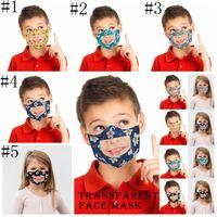 마스크 아이 립 언어 호흡 아이들 인쇄 된 PET 투명 입 커버 세척 보이는 얼굴 마스크 야외면 보호 마스크 LJJA188
