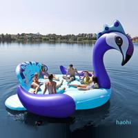 Atacado-Fits sete pessoas 530 centímetros gigante do pavão Flamingo Unicorn barco inflável Piscina Float colchão de ar natação Anel Partido Brinquedos boia