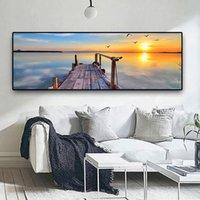 Natural Ponte de madeira do sol Paisagem Wall Art Pictures Pintura Wall Art para Living Room Home Decor (No Frame)