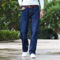 Männer Jeans 2021 Business Mode Stretch Denim Classic Style Regular Fit Stragith Jean Hose Männliche Hosen Blau 40 42 44