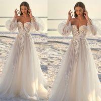 Sin tirantes de vestidos de novia de manga larga de encaje País Boho vestidos de boda más el tamaño de vestidos de novia vestidos de novia Robe de mariée