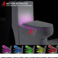 Akıllı PIR Hareket Sensörü LED Klozet Gece Lambası Lambası 16 Renkler Su Geçirmez Arka Işık Klozet Banyo için WC Tuvalet Işık