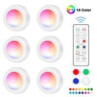 Dim RGB LED Işıklar Mutfak Lambası Dokunmatik Sensör Dolap / Uzaktan Kumanda 16 Renk ile Dolap / Kabine Gece Işığı Puck Işık