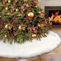 """الأبيض القطيفة شجرة عيد الميلاد تنورة قبلات شجرة عيد الميلاد السجاد ديكورات للمنزل السنة الجديدة عيد الميلاد ديكور 30 """"/ 48"""" / 60 """"بوصة"""