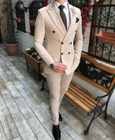 Beige Formal Men Suits For Wedding Tuxedos Slim Fit Double B...