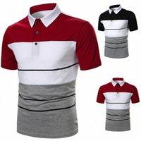 Yeni Geliş Erkekler Kısa Kollu Golf T Shirt Erkek Moda Renkli Blok Çizgili Düğmesi Yukarı Yaka T Shirt Yaz Tee kıyafetler 2cw5 # Tops