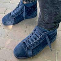 scarpe in pelle Spikes scarpa da tennis delle più nuove donne Mens Red Sneakers fondo donne High-top in pelle scamosciata con borchie scarpe da tennis Lace Up partito