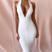 Seamyla 2020 neue elegante weiße Verband-Kleid reizvoller Halter-Ansatz Backless Verein-Kleid-Frauen-Sommer-Promi-Party-Kleid Vestidos
