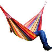 Vente chaude 190 * 100cm Rainbow Loisirs en plein air Double toile Hammocks Hamac de camping ultra-léger avec sac à dos