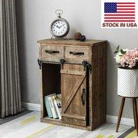 Vardagsrumsmöbler Slitstarkt förvaringsskåp European Retro Classic USA Landstil Singel ladugårdsdörr med 2 lådor Vintage träskåp
