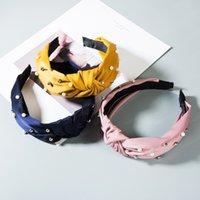 Neue Ankunfts-Frau Stirnband Sommer-Herbst-Fest Farbe Weinlese-Perlen-Knoten-Stirnband für Dame Elegant Kreuz Elastic Kopfbedeckungen