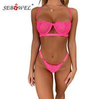 Set di lingerie di pizzo floreale in al neon rosa Sexy Sexy Scava fuori Bralette Lady Bra Top e perizoma femmina pizzo Lenceria biancheria intima Y200708