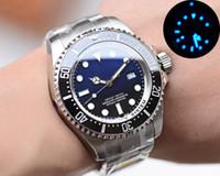 الضوء الأزرق الرجال ووتش ديب السيراميك مدي 126660 الستانلس ستيل الميكانيكية التلقائي الساعات الفاخرة الرجال ووتش 44MM 30M للماء ساعة اليد