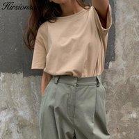 Hirsionsan Temel Pamuk Tişörtlü Kadınlar Yaz Yeni Büyük Boy Katı Tees 7 Renk Casual Gevşek Tişört Kore O Boyun Kadın T200729 Tops