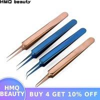 Pinzas de acero inoxidable El oro azul de la extensión de pestañas pinzas de extensión de alta precisión de la pestaña fija punta fina