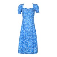 2020 Foridol Jahrgang Hauchhülse Blumenkleid Sommerseite Split lange Boho Strand-Feiertagskleid kleidet blaues Sommerkleid vestido retro drucken
