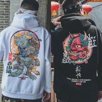 Мужская мода Прохладный хип-хоп толстовки Японский вскользь фуфайки Streetwear Женщины Свободный пуловер Harajuku Devil Hoodie Мужской