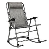 WACO Reizen Opvouwbare Rocking Leunstoel, Patio Banken Textilene Stof Dikkere Buis W Padded Head Arm Rest Living Room Porch Leisure Chair, Gray