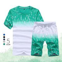 여름 세트 남성 캐주얼 비치 정장 짧은 소매 2PCS 운동복 + 반바지 패션 운동복 2020 남성 Sportsuits T 셔츠 + 반바지 CX200730
