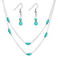 Monili orecchino collana imposta Perline Turchese orecchino Due strati Turchese borda la collana oro argento colore placcato catena di metallo