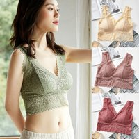 Women Lace Tank Tops Underwear Seamless Sexy Lace Camisoles Summer Vest Wireless Padded Bralette