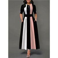 플러스 사이즈 여성 빈티지 스윙 드레스 여성 하프 슬리브 파티 스케이팅 드레스 영국 폴리 에스테르 롱 핑크 옐로우 퍼플 여름 캐주얼