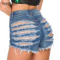 Sexy Ripped Denim Hot Pants Women New Summer Cowgirl Shorts Hot Pants European and American Jeans Night Club Holes Shorts Lady