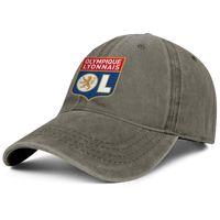 Şık Olympique Lyonnais Les Gones OL Unisex Denim Beyzbol Şapkası Serin Kişiselleştirilmiş Şapkalar Altın Mermer Etiket Prue Siyah Metin Beyaz Göğüs